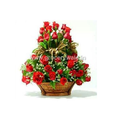 Red Roses Basket Of 20 Flowers